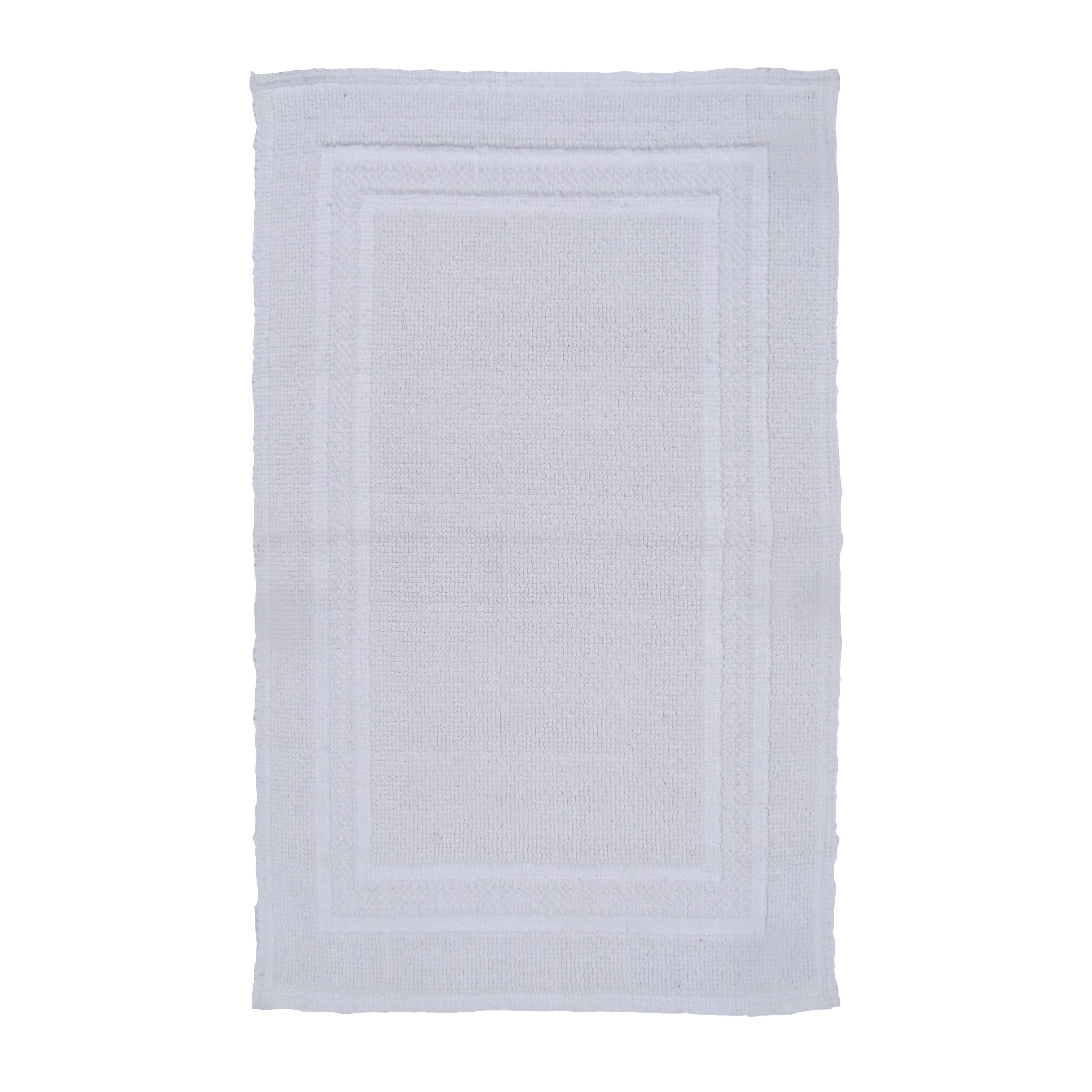 Sofia White Cotton Anti-slip Backing Bath Mat (l)800mm (w)500mm
