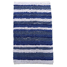 Padstow Blue & White Chenille Stripe Cotton Anti-Slip
