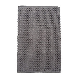 Nevis Grey Knitted Cotton Anti-Slip Backing Bath Mat