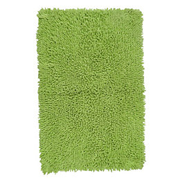 Kapella Green Tufty Cotton Anti-Slip Backing Bath Mat