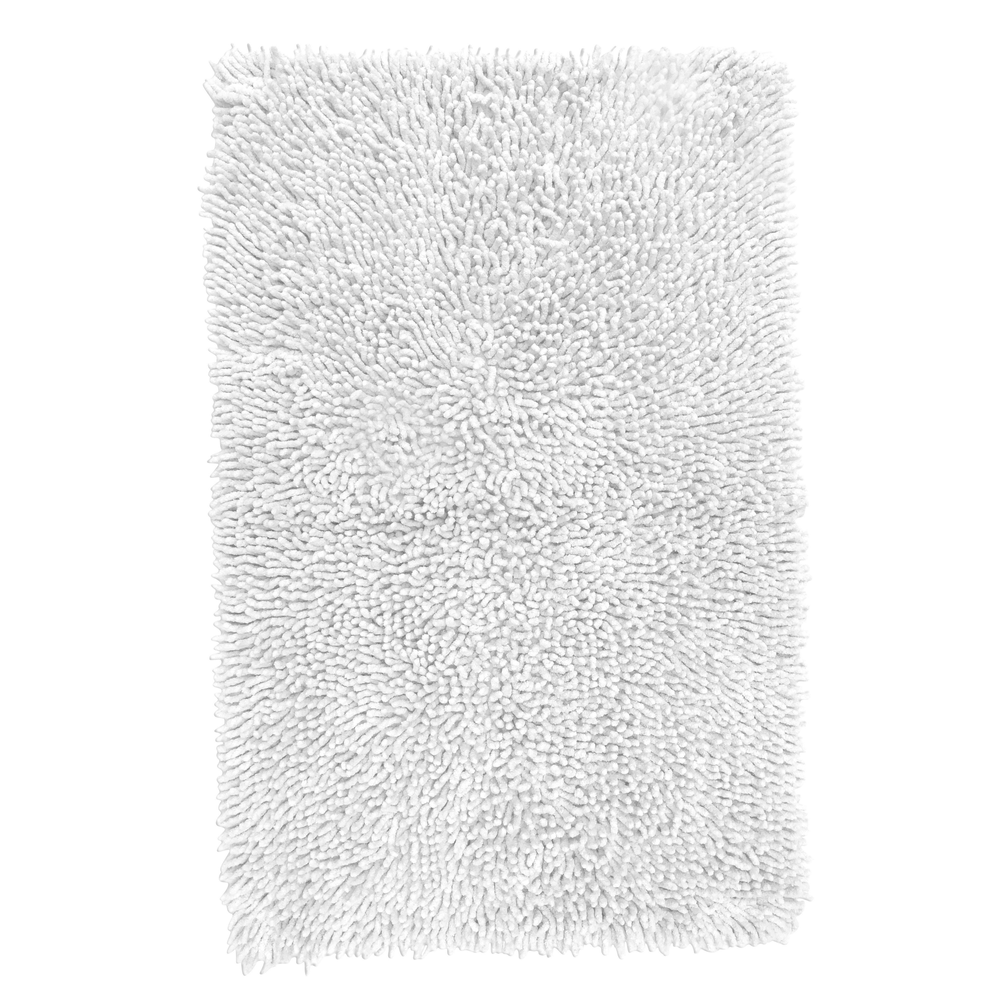 Kapella White Tufty Cotton Anti-slip Backing Bath Mat (l)800mm (w)500mm