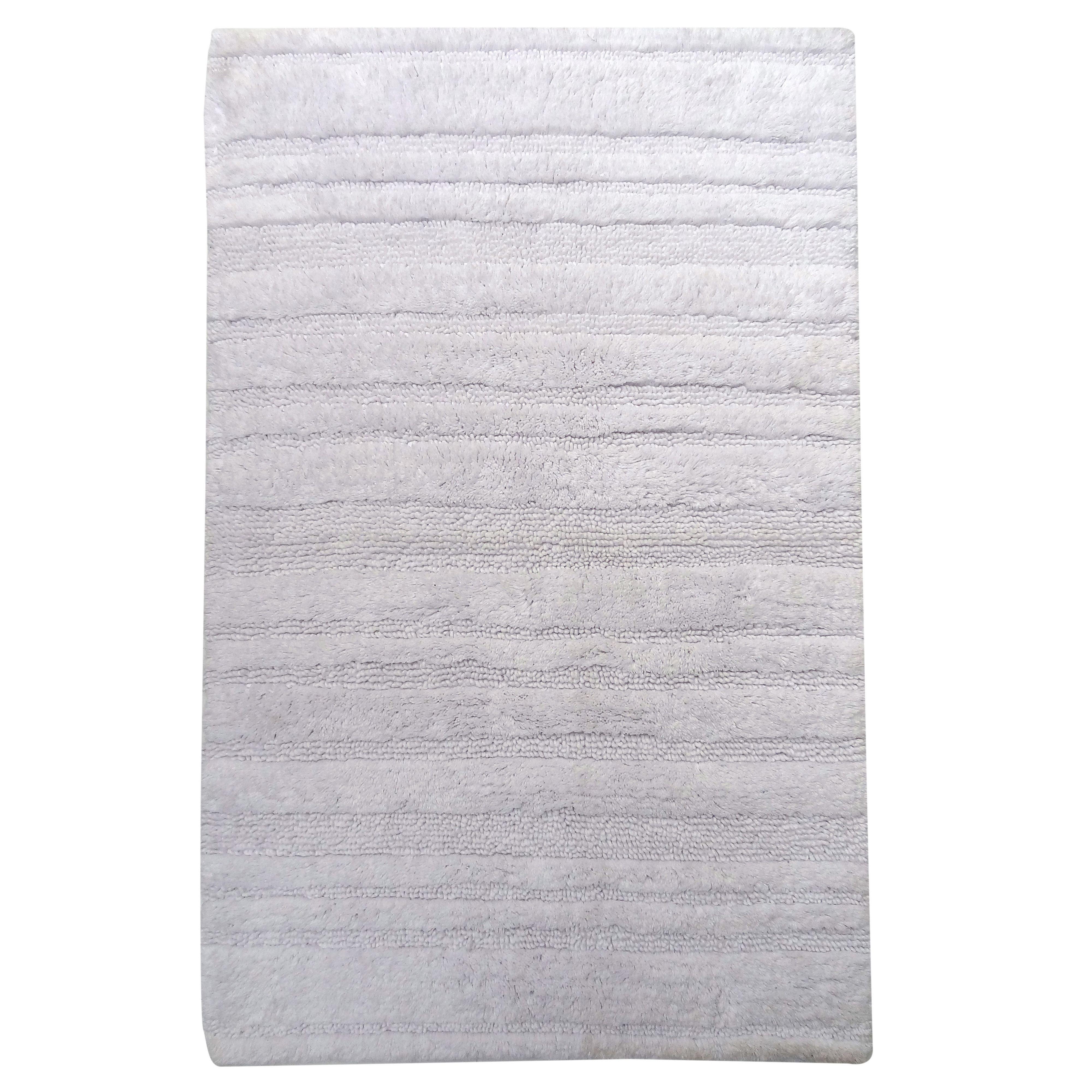 Newlyn White Striped Cotton Anti-slip Backing Bath Mat (l)80cm (w)500mm