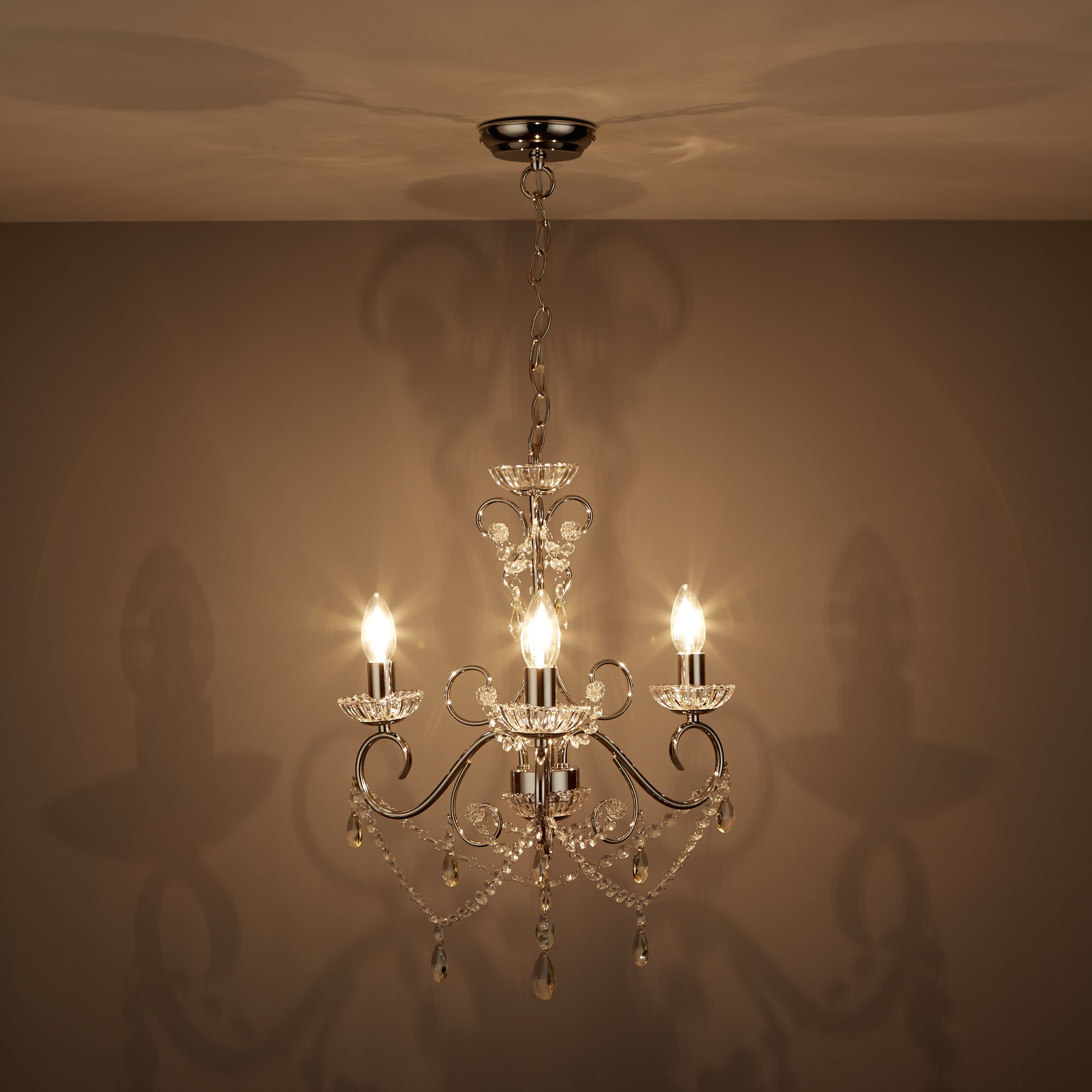 Chesworth Chandelier Nickel Effect 3 Lamp Ceiling Light