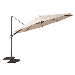 Mallorca 3.5m Taupe Overhanging Parasol