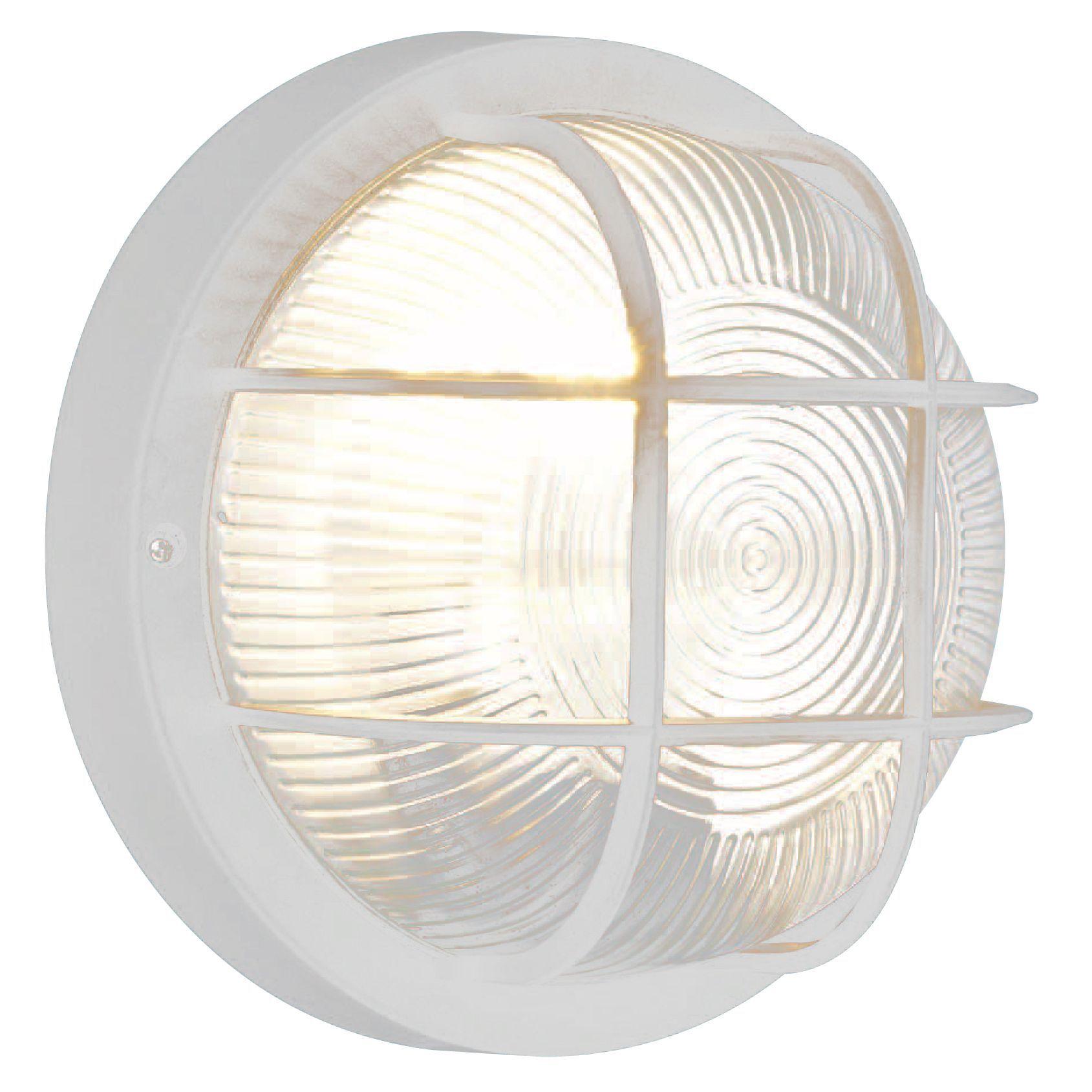 White Mains Powered EXTERNAL WALL LIGHT Simple Bulk Head Outdoor Garden Driveway eBay
