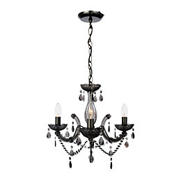 Annelise Crystal Droplets Smoked 3 Lamp Ceiling Pendant