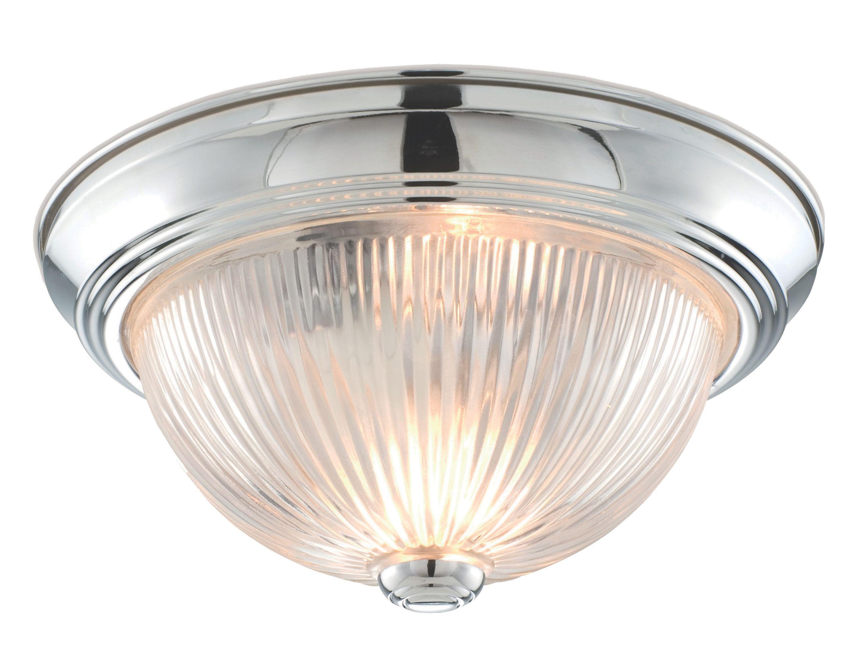 Colours Sudbury Clear Chrome Effect Ribbed Glass Flush Light (d)290mm