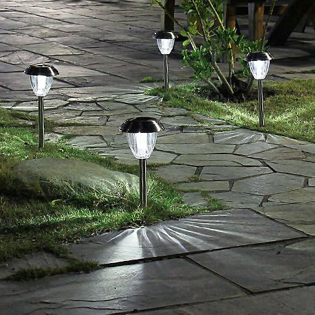 stake lights in ground lighting path