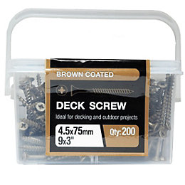B&Q Brown Coated Carbon Steel Deck Screw (Dia)4.5mm