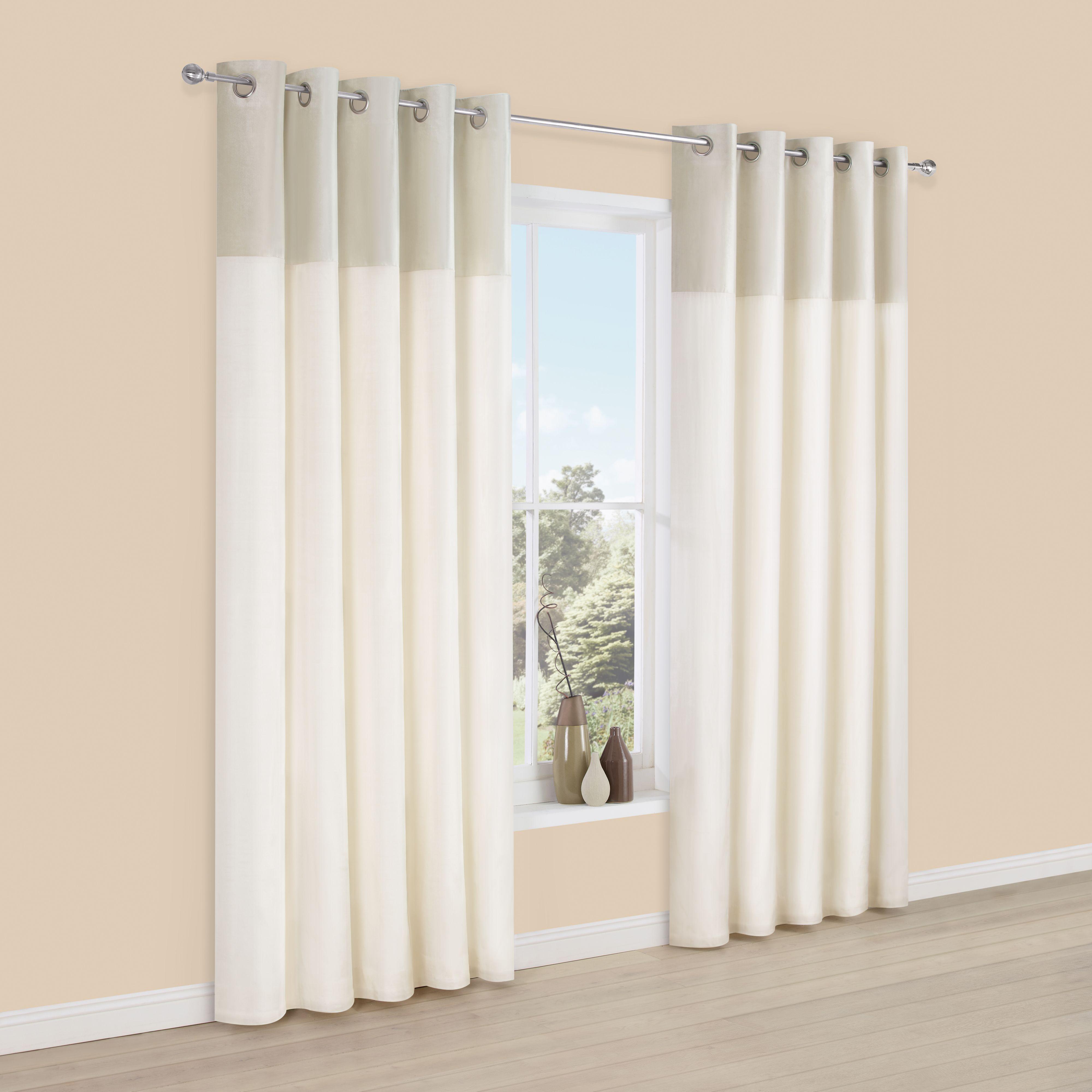 Linnet Limestone Panelled Velvet & Faux Silk Eyelet Lined Curtains (W)167  cm (L)183 cm   Departments   DIY at B&Q