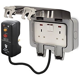 Diall 13A 2-Way Grey Switched Socket