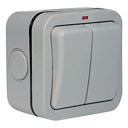 Diall 13A Grey Double Outdoor Switch