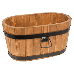 Wooden Barrel Trough (H)26cm (L)50cm