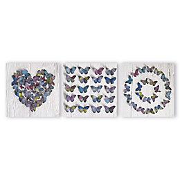 Butterfly Collage Multicolour Canvas Art Set (W)30cm (H)30cm