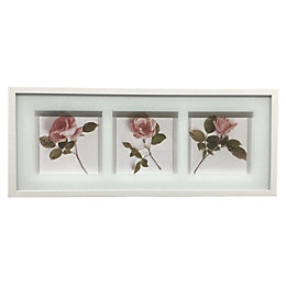 Frosted Roses Pink & White Framed Print (W)70cm