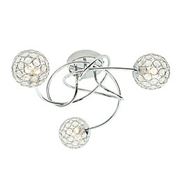 Lopez Crystal Circle Chrome Effect 3 Lamp Ceiling