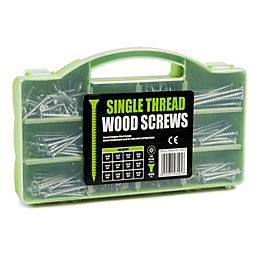 B&Q Carbon Steel Single Thread Woodscrews, Pack of