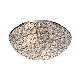 Lopez Crystal Circle Chrome Effect 2 Lamp Ceiling