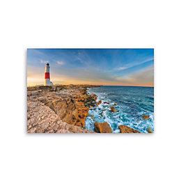 Lighthouse Shore Blue Canvas Art (W)160cm (H)110cm