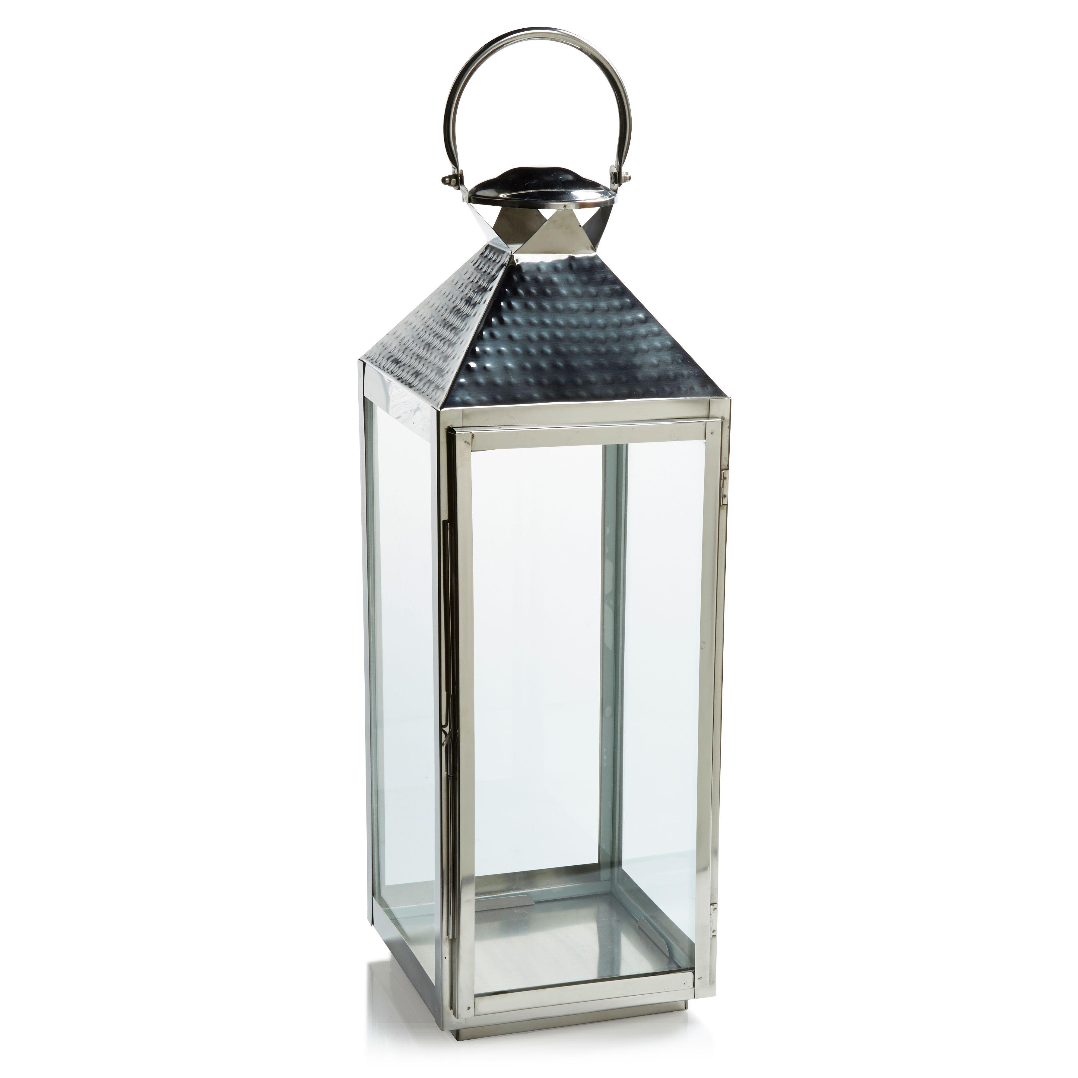 Colours Chrome Effect Stainless Steel U0026 Glass Hurricane Lantern, Extra Large