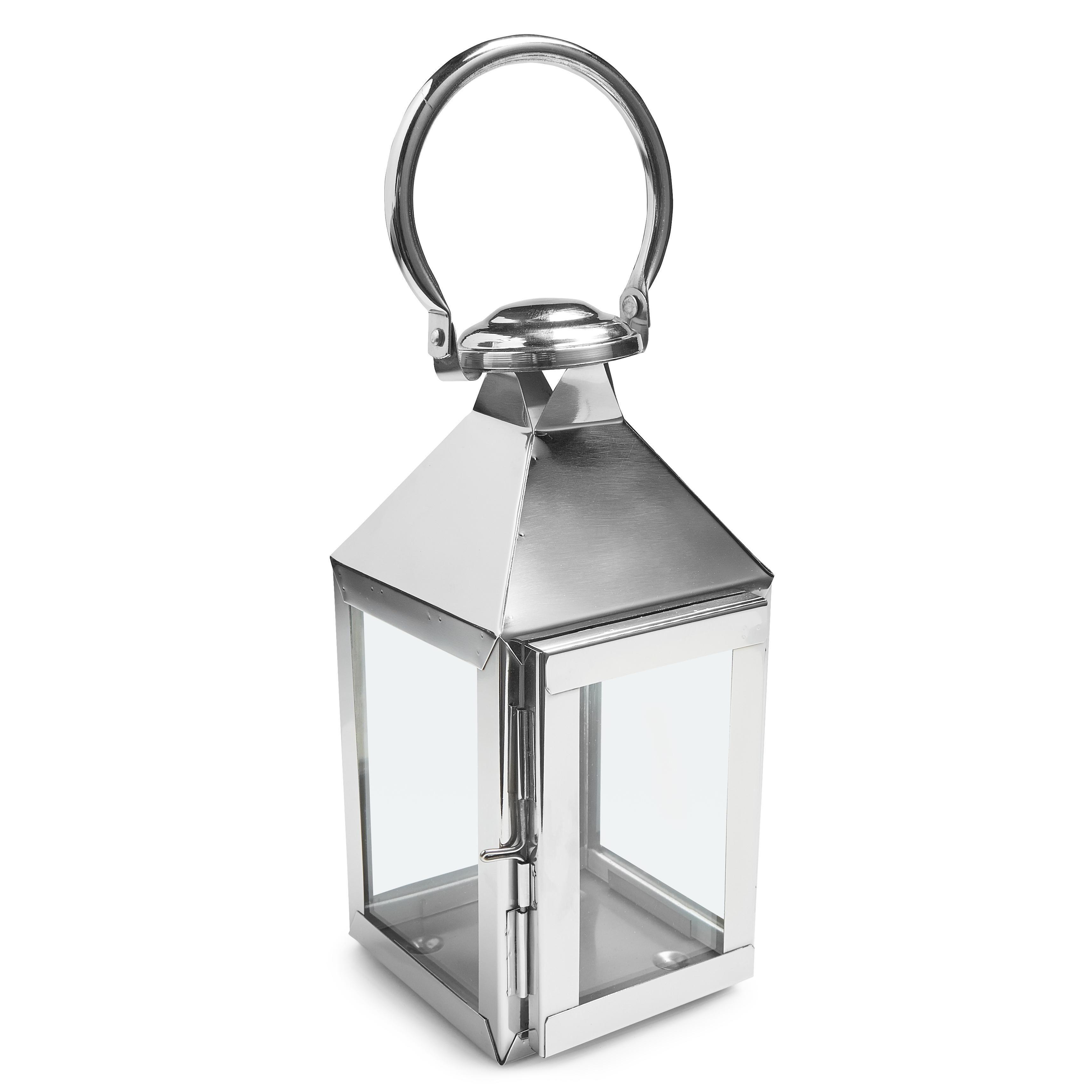 Colours Chrome Effect Metal Amp Glass Lantern Small