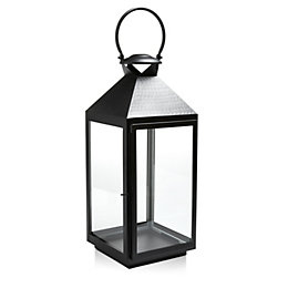 Black Iron & Glass Hurricane Lantern, Large