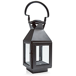 Black Matt Iron & Glass Hurricane Lantern, Small