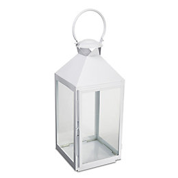 Colours White Iron & Glass Hurricane Lantern, Large