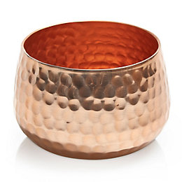 Colours Copper Effect Hammered Aluminium Votive Holder, Small