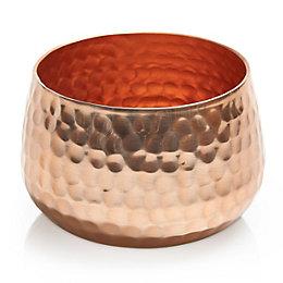 Colours Copper Effect Hammered Aluminium Votive Holder, Small