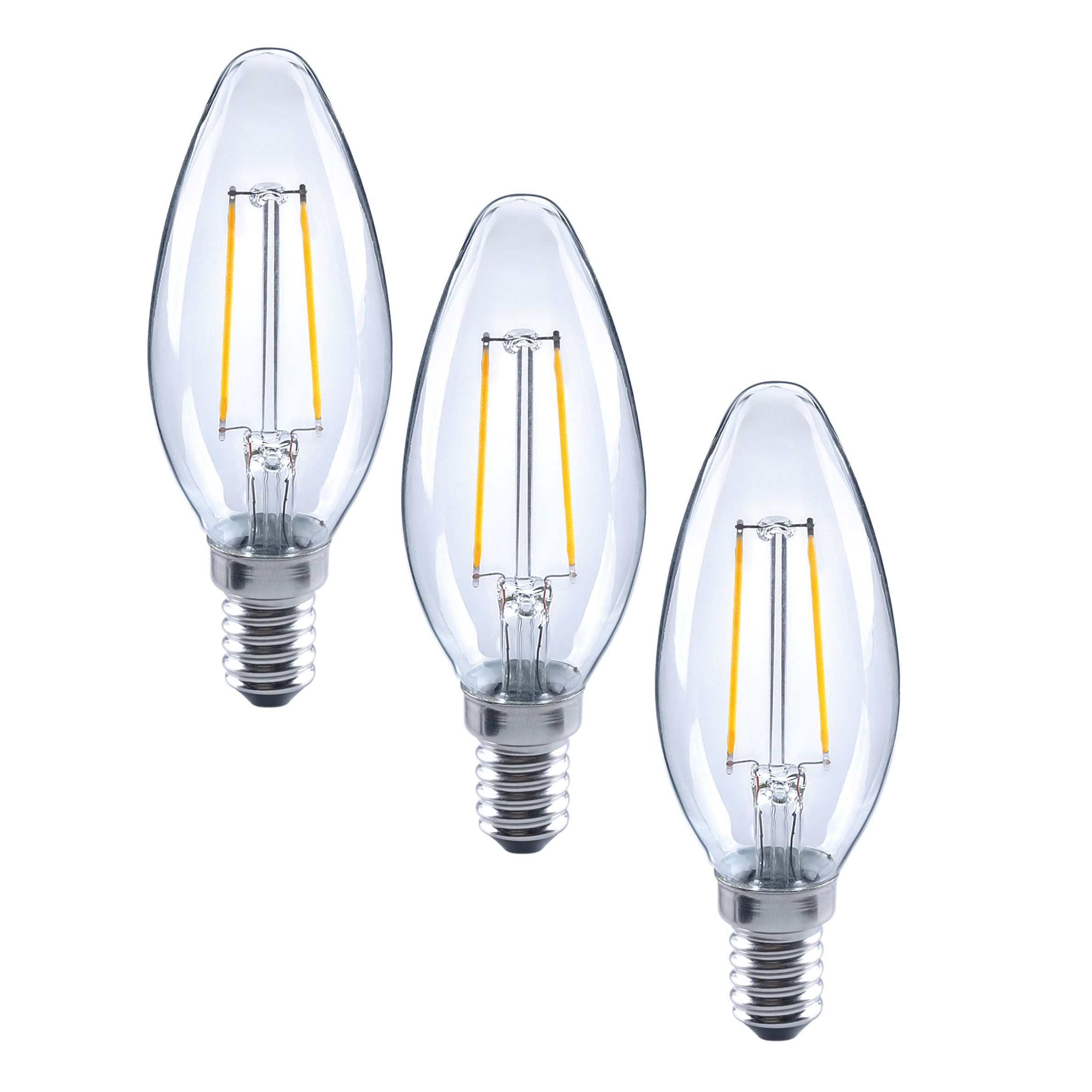diall e14 2w led filament candle light bulb pack of 3 departments diy at b q. Black Bedroom Furniture Sets. Home Design Ideas
