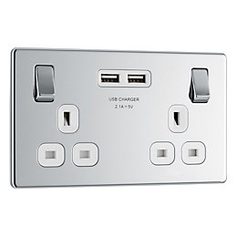 13A Polished Chrome Switched Twin Socket & 2