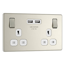 Colours 13A Pearl Nickel Switched Double Socket &