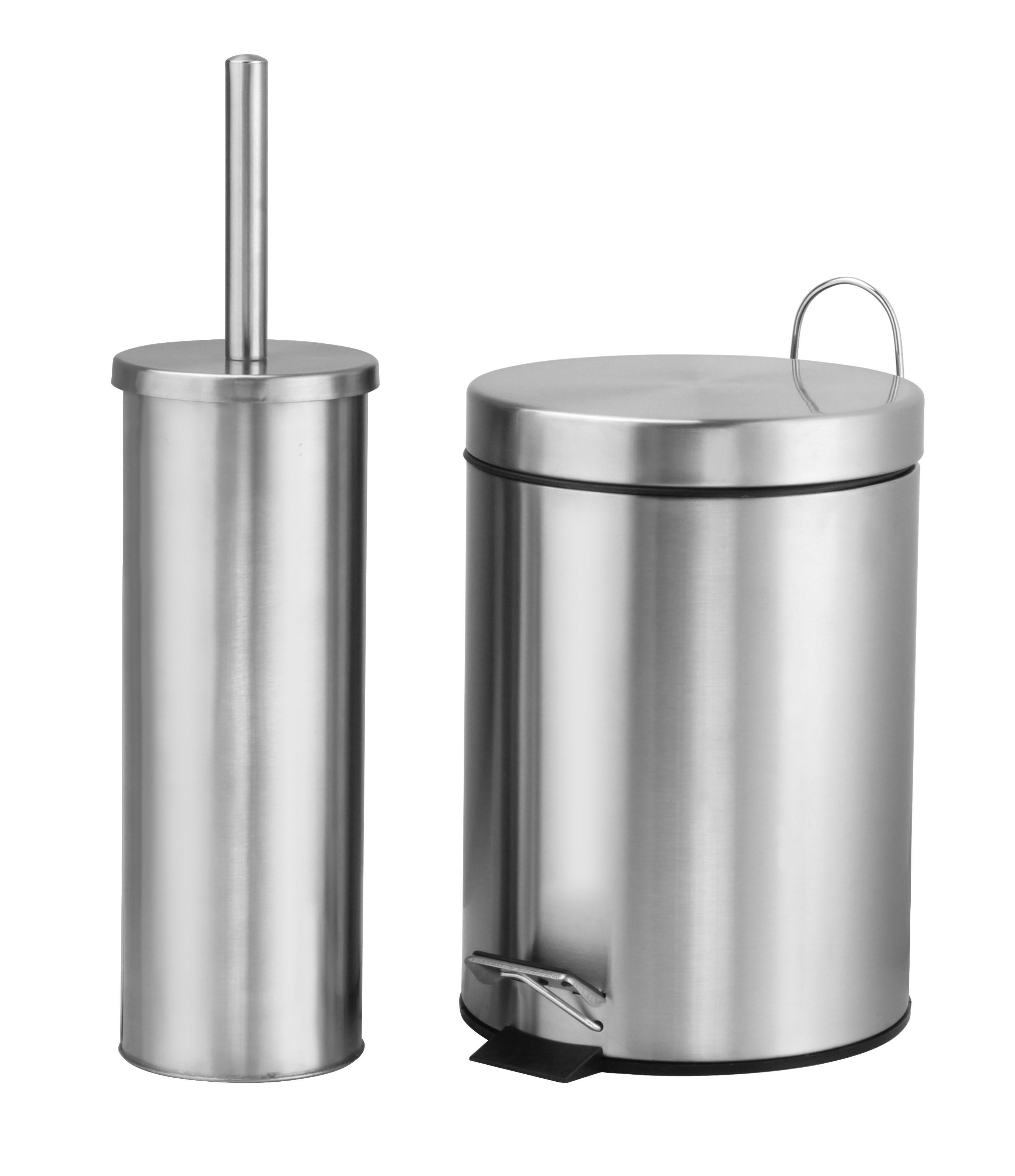 Brabantia metallic mint metal round touch top kitchen bin for Black bathroom bin and toilet brush