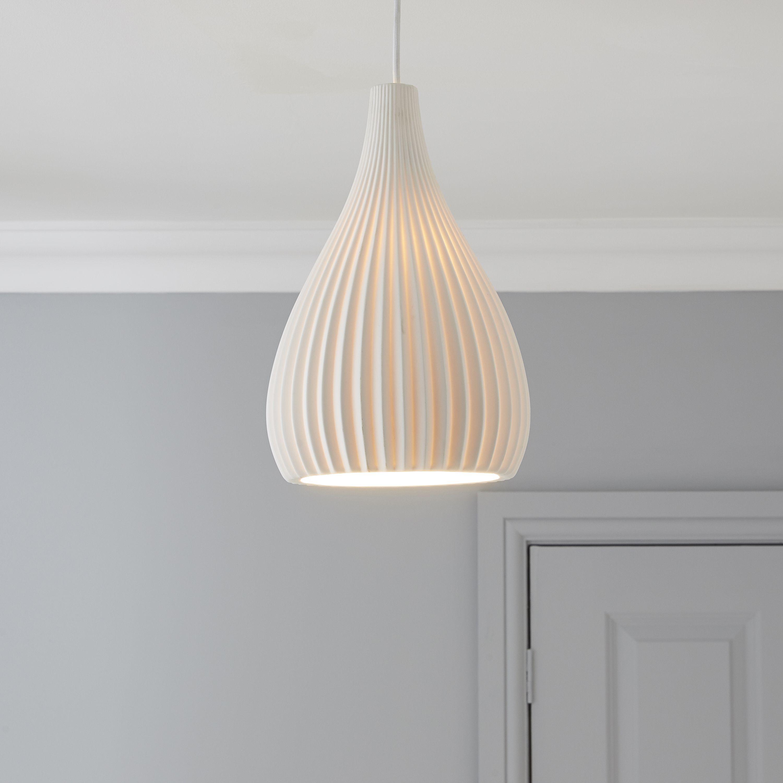 Chandelier Lighting B Q: Asinara White Matt Pendant Ceiling Light