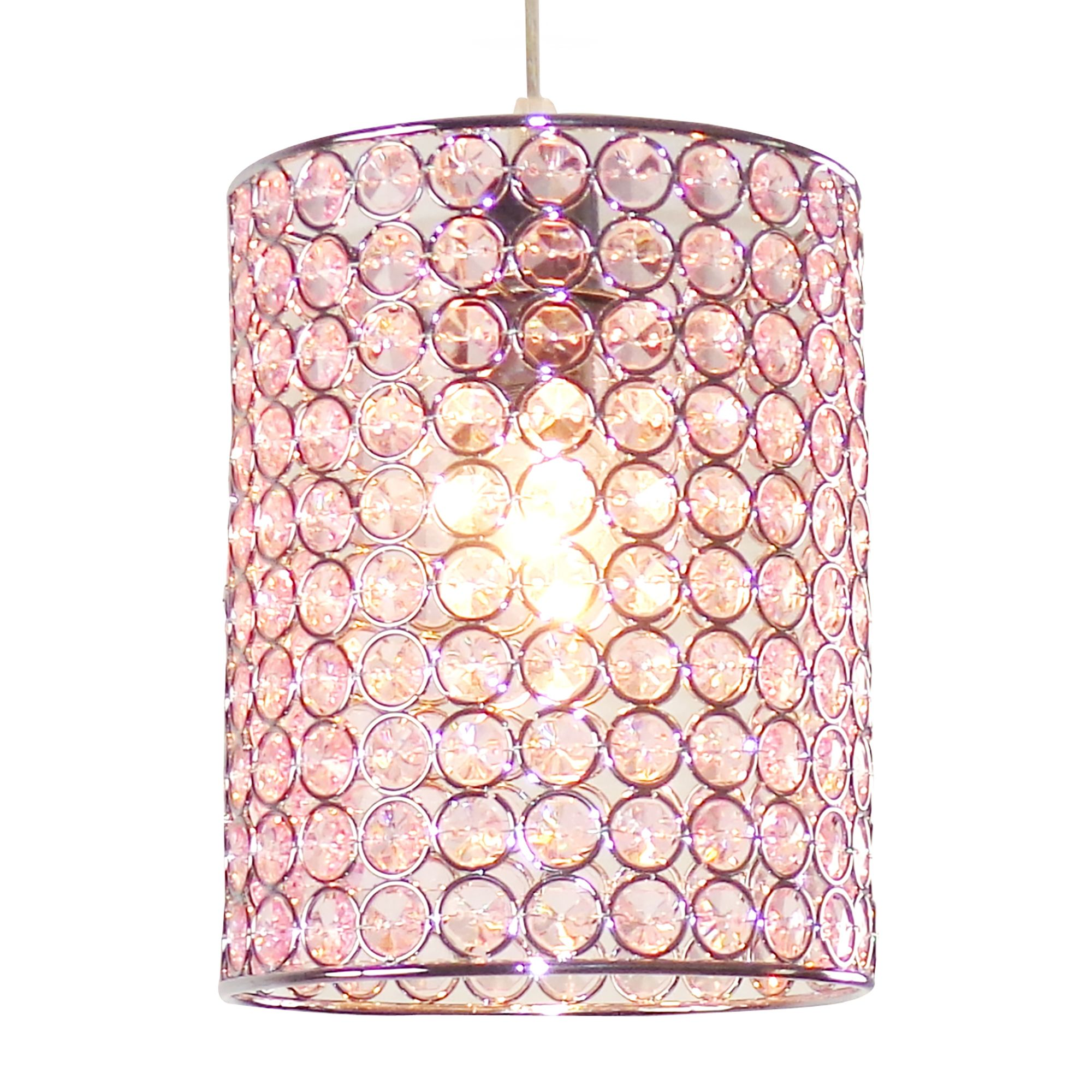 Pink Lamp Shade : Colours mokena pink crystal effect beaded light shade d