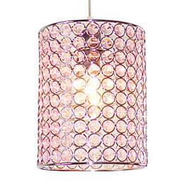 Colours Mokena Pink Crystal Effect Beaded Light Shade