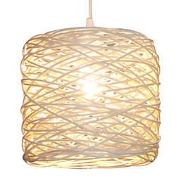 Colours Baroda White Rattan Light Shade (D)21cm