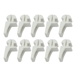 White Plastic Curtain Track Glide Hook (L)19.1mm, Pack