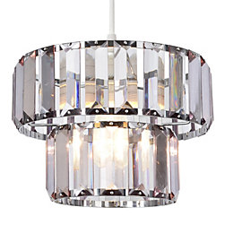 Colours Bayano Smoke Carved Crystal Effect Light Shade