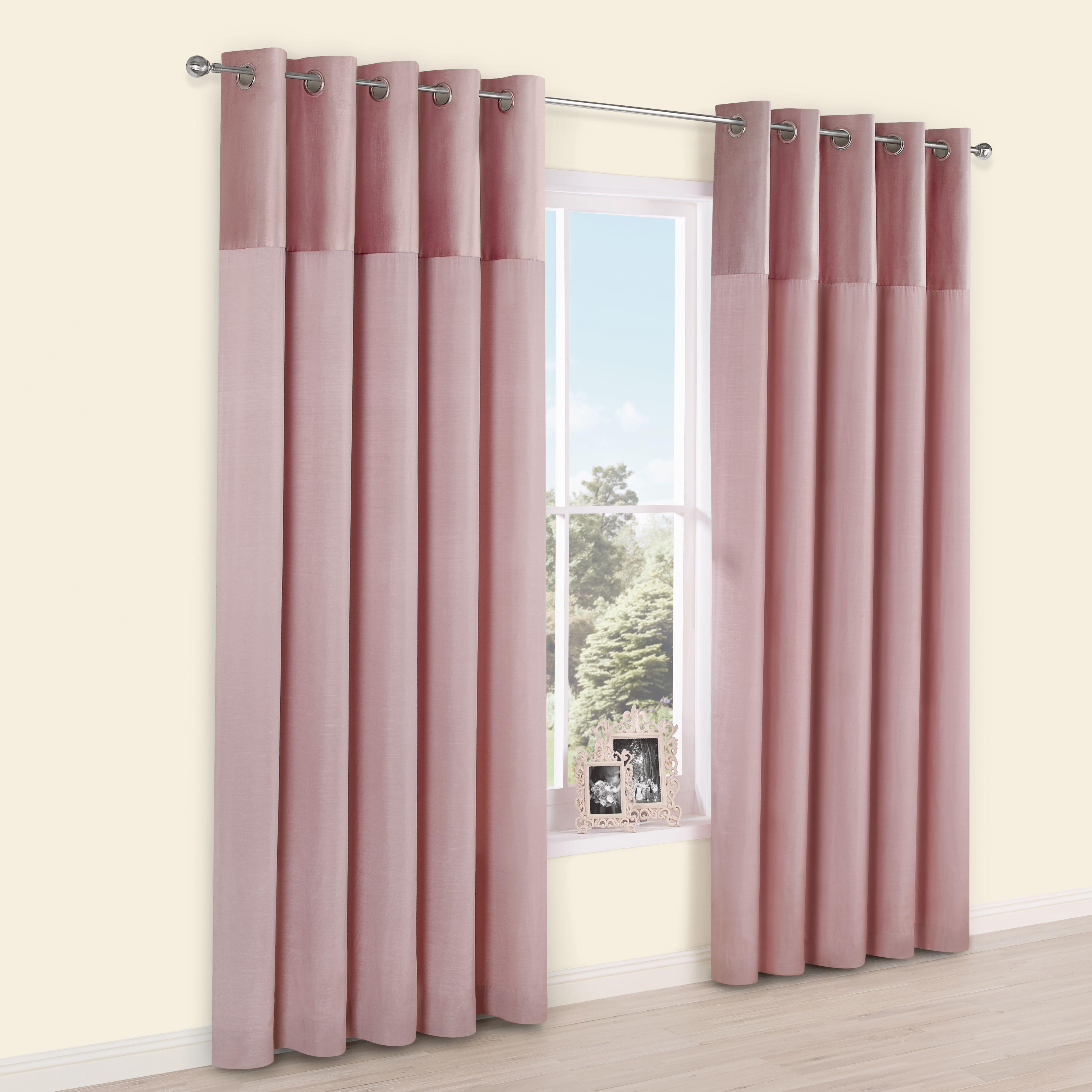 Linnet Dusky Pink Panelled Velvet & Faux Silk Eyelet Lined