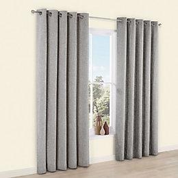 Thornbury Grey Chenille Eyelet Lined Curtains (W)167cm (L)183cm