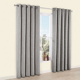 Thornbury Grey Chenille Eyelet Lined Curtains (W)167cm (L)183cm