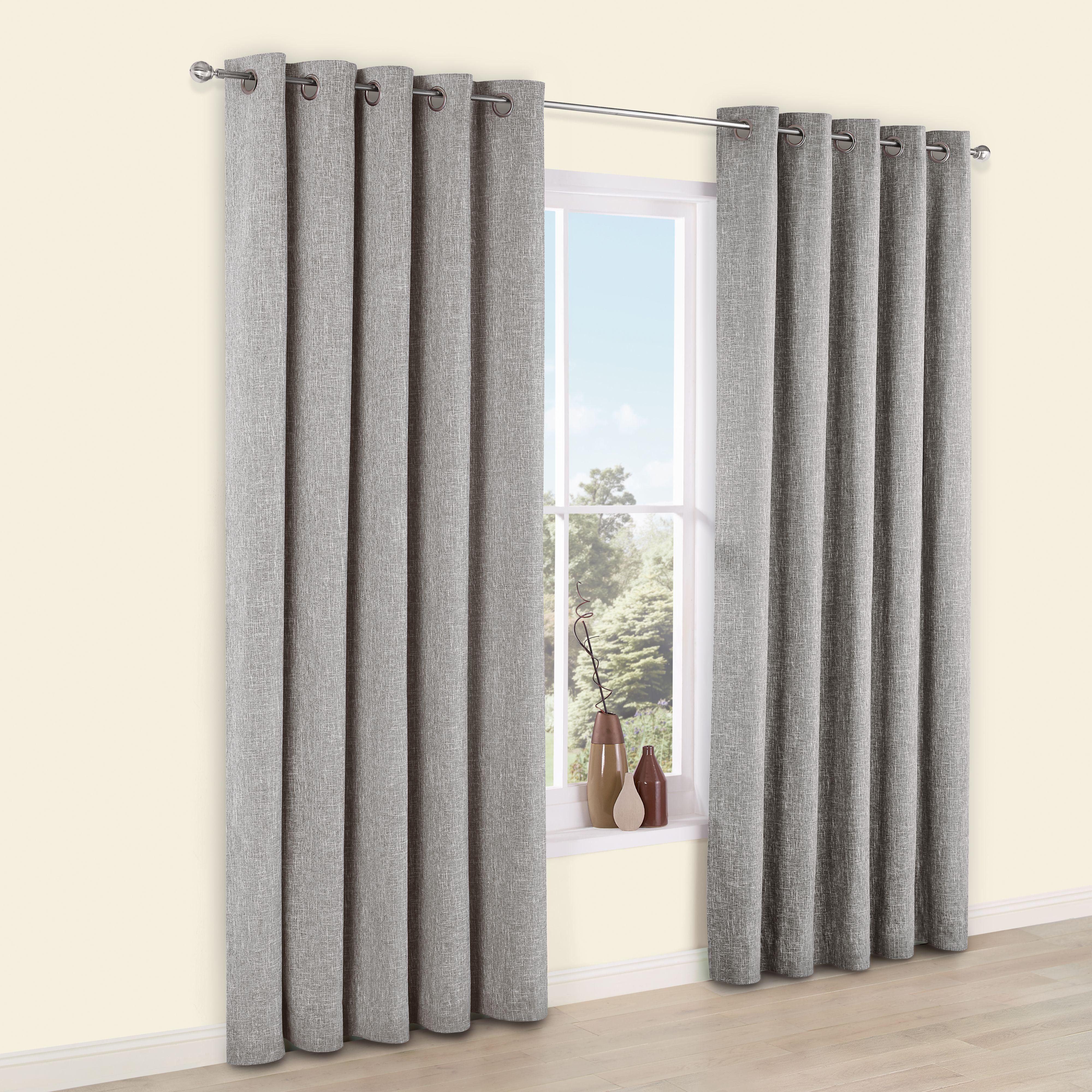 Thornbury Grey Chenille Eyelet Lined Curtains (W)228cm (L)228cm |  Departments | DIY At Bu0026Q