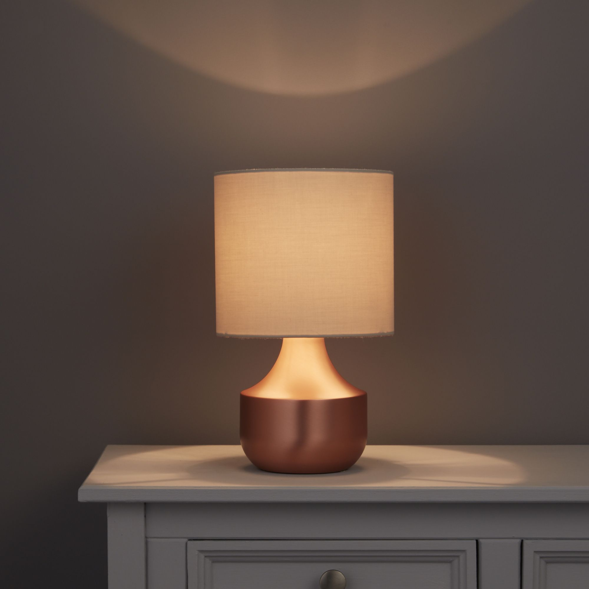 Medes Brown Brushed Copper Effect Table Lamp Base