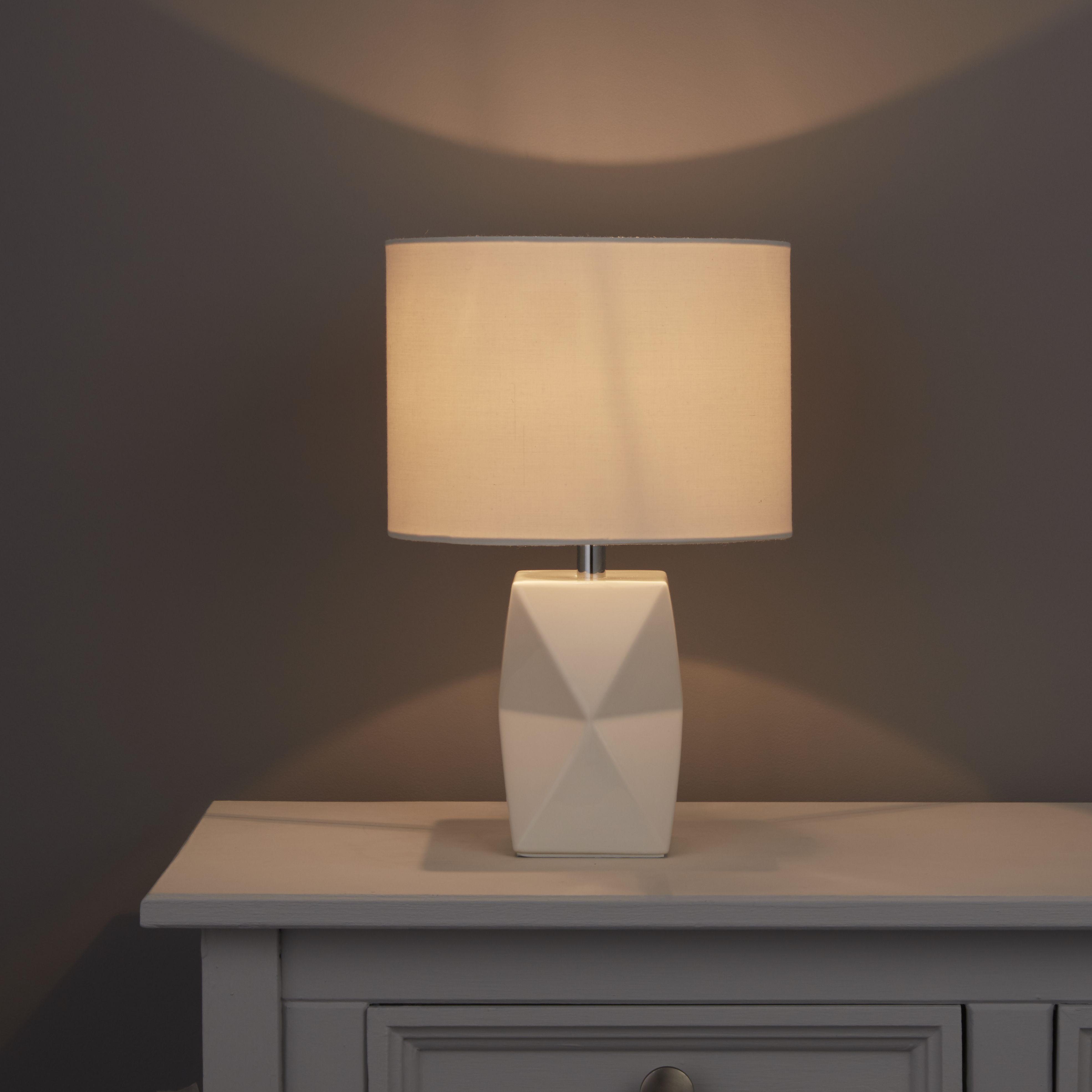Camia Geometric White Table Lamp