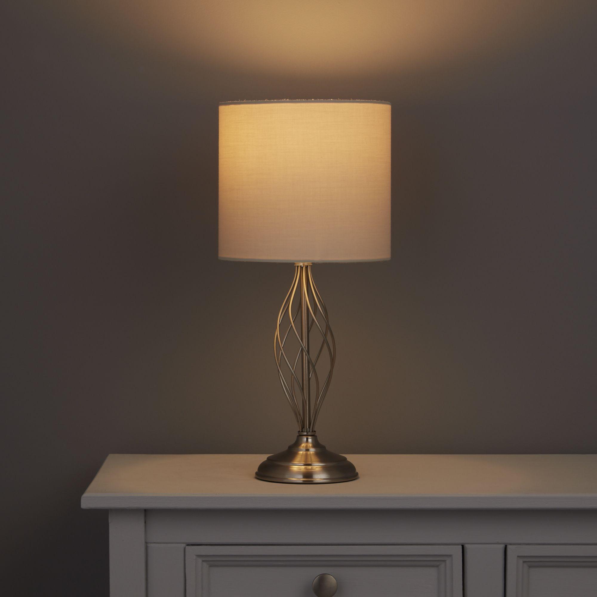 Eliza Swirl Satin Nickel Effect Table Lamp Base