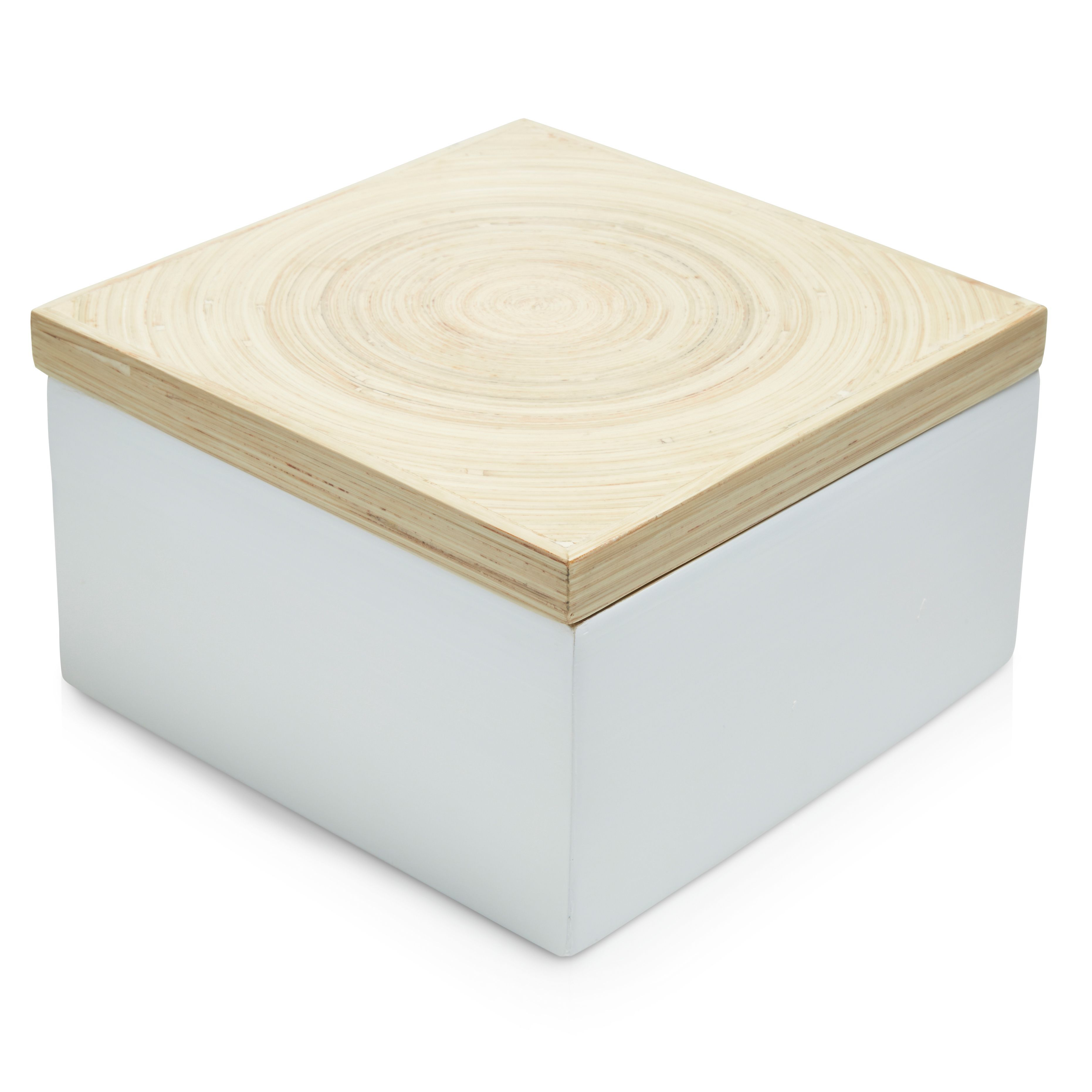 Colours White Bamboo Storage Box Departments Diy At B Amp Q