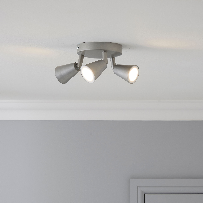 Koro Nickel Effect 3 Lamp Ceiling Spotlight Departments
