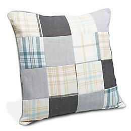 Caddington Patchwork Cream, Grey & Blue Cushion